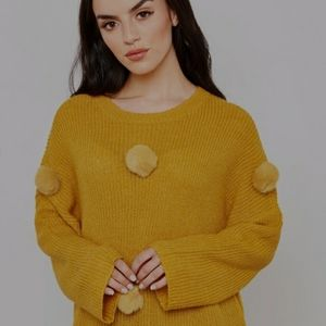 ONLY Pompom Knit Sweater Mustard Yellow Large